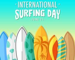 bannière de la journée internationale du surf avec de nombreuses planches de surf vecteur