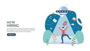 concept d'embauche et de recrutement en ligne avec un caractère minuscule. entretien en agence. sélectionnez un processus de reprise. modèle pour la page de destination Web, la bannière, la présentation, les médias sociaux. illustration vectorielle vecteur