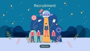concept de recrutement ou d'embauche en ligne avec un caractère minuscule. sélectionnez un processus de reprise. entretien en agence. modèle pour la page de destination Web, la bannière, la présentation, les médias sociaux. illustration vectorielle vecteur