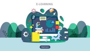 concept d'apprentissage en ligne avec ordinateur, livre et personnage minuscule dans le processus d'étude. e-book ou éducation en ligne. modèle pour la page de destination Web, la bannière, la présentation, les médias sociaux et le matériel imprimé vecteur