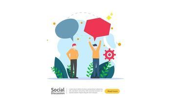réseau de conversation sur les médias sociaux. chat dialogue bulles communication personnes caractère. communauté de discussion en ligne. les nouvelles discutent du modèle de page de destination, de la présentation, de la presse écrite. illustration vectorielle vecteur