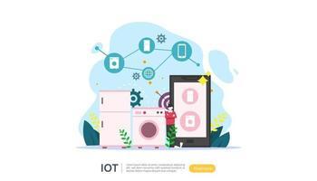 concept de surveillance de maison intelligente iot pour la technologie domestique industrielle 4.0 sur l'écran d'un ordinateur portable d'objets connectés à l'internet des objets. modèle de page de destination Web, bannière, support imprimé. illustration vectorielle vecteur