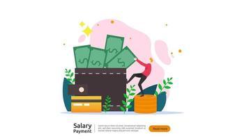 concept de paiement de salaire. paie, prime annuelle, revenu, paiement avec calculatrice papier et personnage. modèle de page de destination Web, bannière, présentation, médias sociaux et imprimés. illustration vectorielle vecteur