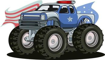 vecteur de dessin à la main gros camion de police