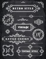 Ensemble de badges, cadres, étiquettes et bordures vintage rétro. Fond de tableau de craie vecteur