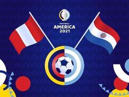 Pérou vs paraguay match illustration vectorielle championnat de football 2021 vecteur