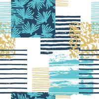 Modèle sans couture tendance mer avec la texture de la main et des éléments géométriques.