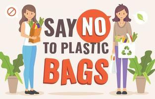 Dites non à la campagne sur les sacs en plastique vecteur