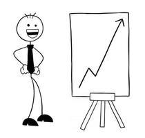 personnage d'homme d'affaires stickman avec le graphique des ventes en hausse et illustration de dessin animé de vecteur très heureux