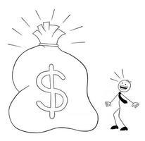 le personnage d'homme d'affaires stickman voit l'énorme sac avec des dollars et une illustration de dessin animé de vecteur surpris