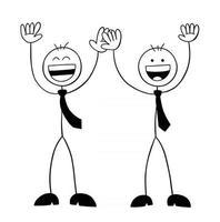 les personnages d'homme d'affaires stickman lèvent la main et ils sont très heureux de l'illustration vectorielle de dessin animé vecteur