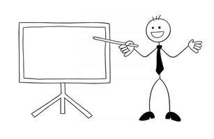 stickman, homme affaires, caractère, heureux, et, devant, les, tableau blanc, et, pointage, à, a, bâton, vecteur, dessin animé, illustration vecteur