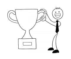stickman, homme affaires, caractère, heureux, et, gagné, trophée, vecteur, dessin animé, illustration vecteur
