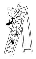 stickman, homme affaires, caractère, escalade, les, échelle bois, vecteur, dessin animé, illustration vecteur