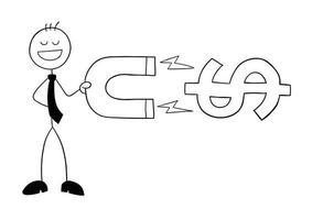 le personnage d'homme d'affaires stickman tient un aimant et attire l'illustration de dessin animé de vecteur de dollars