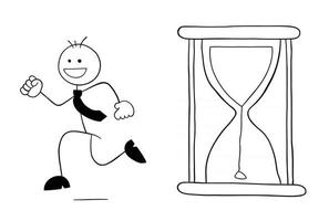 le sablier a commencé et le personnage d'homme d'affaires stickman est en cours d'exécution et illustration de dessin animé de vecteur heureux