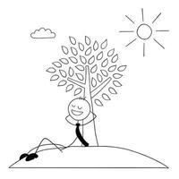 personnage d'homme d'affaires stickman appuyé contre un arbre et se reposant au soleil vector illustration de dessin animé
