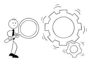 stickman, homme affaires, caractère, tenue, a, loupe, et, regarder, engrenages, rotation, vecteur, dessin animé, illustration vecteur