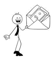 personnage d'homme d'affaires stickman tenant une enveloppe et il y a de l'argent dedans illustration de dessin animé de vecteur