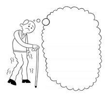 dessin animé, vieil homme, à, canne, triste, et, pensée, vecteur, illustration vecteur