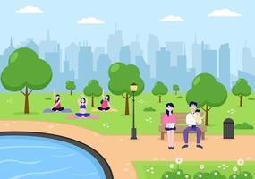 illustration du parc de la ville pour les personnes faisant du sport, de la détente, du jeu ou des loisirs avec un arbre vert et une pelouse. paysage urbain vecteur