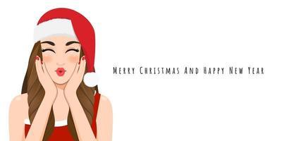 fille de noël souffler un baiser en robe rouge et bonnet de noel avec bonne année et joyeux noël festival personnage de dessin animé sur fond blanc illustration vectorielle vecteur