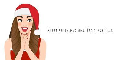 fille de noël excitée en robe rouge et bonnet de noel de noël avec bonne année et joyeux noël festival personnage de dessin animé sur fond blanc illustration vectorielle vecteur
