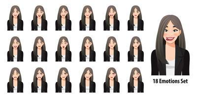 belle femme d'affaires en costume noir avec différentes expressions faciales définies isolées dans l'illustration vectorielle de style de personnage de dessin animé vecteur