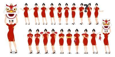 femme chinoise dans des vêtements de style traditionnel définir différents gestes isolé nouvel an chinois concept illustration vectorielle vecteur