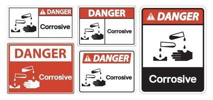 Isoler le signe symbole corrosif de danger sur fond blanc, illustration vectorielle eps.10 vecteur