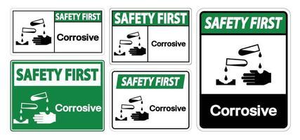Isoler le premier signe de symbole corrosif de sécurité sur fond blanc, illustration vectorielle eps.10 vecteur