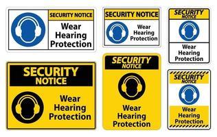 Avis de sécurité porter un signe de protection auditive sur fond blanc vecteur