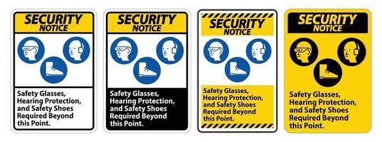 Avis de sécurité signer des lunettes de sécurité, une protection auditive et des chaussures de sécurité requises au-delà de ce point sur fond blanc vecteur