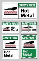Premier signe de symbole de sécurité en métal chaud isolé sur fond blanc vecteur