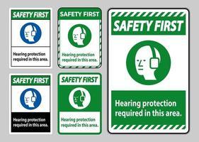 Safety first PPE signe une protection auditive requise dans cette zone avec le symbole vecteur