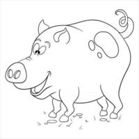 cochon drôle de personnage animal dans un livre de coloriage de style ligne vecteur