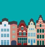 Vue d'élévation de la collection de maisons en rangée classiques colorées. vecteur