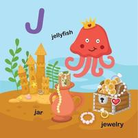 illustration isolé alphabet lettre j-jar,méduse,bijoux.vector vecteur