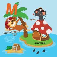 illustration isolé alphabet lettre m-singe,champignon,souris.vector vecteur