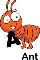 alphabet, lettre a, -, fourmi, vecteur, illustration vecteur