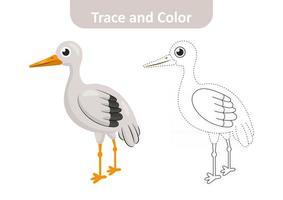 trace et couleur pour les enfants, vecteur de cigogne
