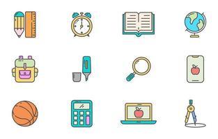 icône de fournitures scolaires mignonne et colorée vecteur