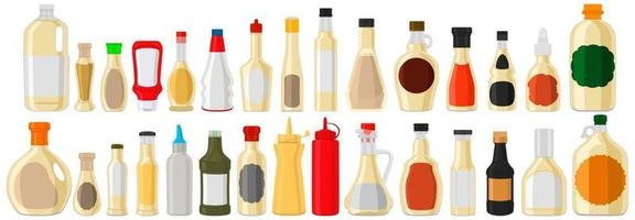 illustration sur le thème grand kit bouteilles en verre variées remplies de tartare de sauce liquide vecteur