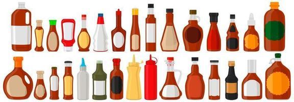 illustration sur kit thématique bouteilles en verre variées remplies sauce liquide sirop dérable vecteur
