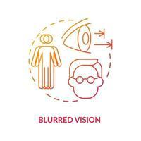 icône de concept de vision floue. problèmes avec les yeux. traitement médical. guérir les problèmes de vue. voir l'illustration de la ligne mince de l'idée mal abstraite. dessin en couleur de contour isolé de vecteur