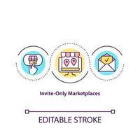 n'inviter que l'icône de concept de marchés. type spécial de boutiques en ligne. fermé pour tous les clients. illustration de ligne mince d'idée abstraite d'entreprise. dessin de couleur de contour isolé de vecteur. trait modifiable vecteur