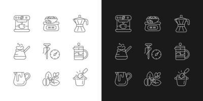 icônes linéaires de café définies pour le mode sombre et clair. pot de moka. cezve turc pour le brassage de la boisson. symboles de ligne mince personnalisables. illustrations de contour de vecteur isolé. trait modifiable