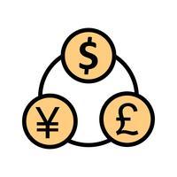 icône de vecteur de flux d'argent