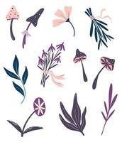plantes magiques. choses de sorcellerie. ensemble de fleurs et d'herbes de champignons magiques. ingrédients pour les potions magiques. objets chamaniques et occultes. décor d'halloween. illustration florale de vecteur