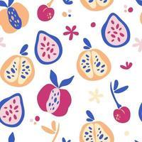 modèle sans couture avec des fruits tropicaux abstraits. textures dessinées à la main à la mode. conception abstraite moderne pour le papier, la couverture, le tissu, la décoration intérieure et d'autres utilisateurs. fond de mélange de fruits. illustration vectorielle. vecteur
